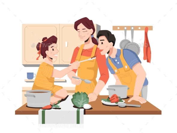 Daughter Treats Father with Soup, Cooking Family