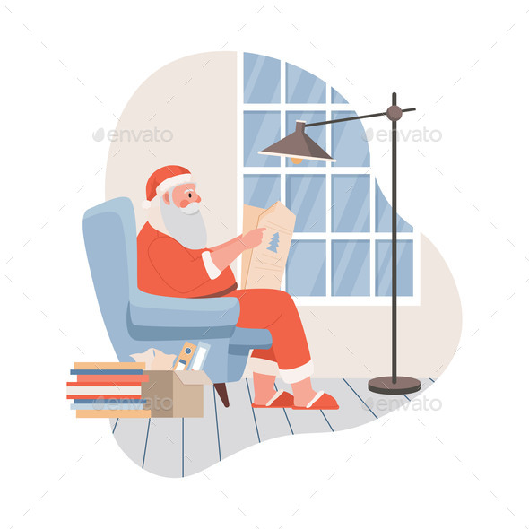 Santa Claus Sitting and Reading Newspaper Vector
