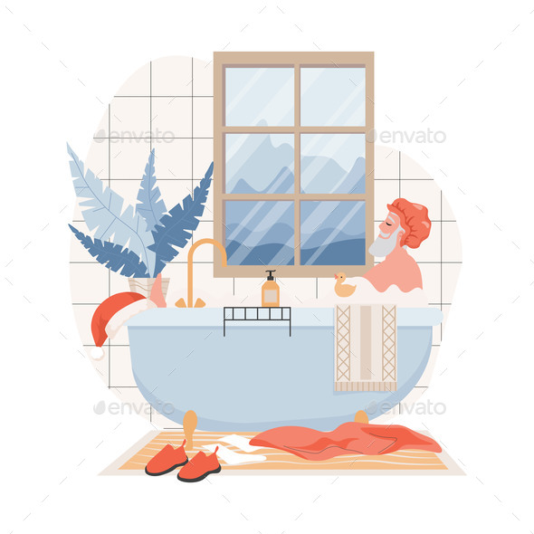 Calm and Relaxing Santa Claus in Shower Cap Taking Bath