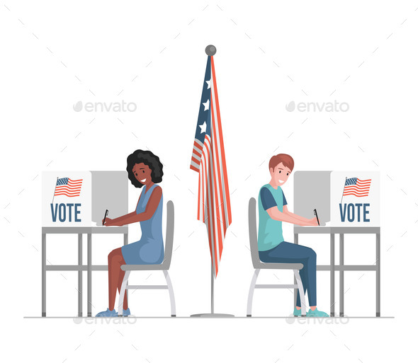 Man and Woman Sitting at Voting Stands
