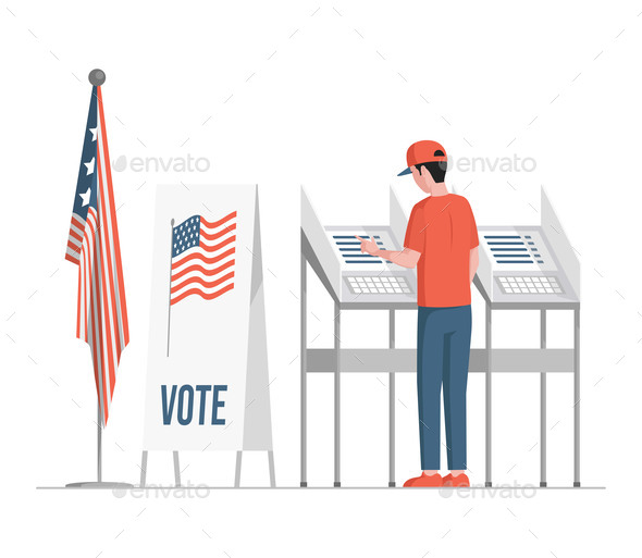 Man Standing Near Voting Stands, Fill Casting