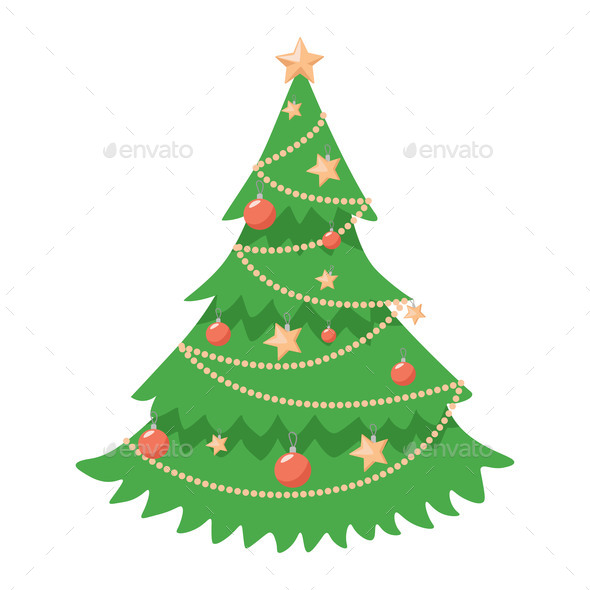Decorated Christmas Tree Vector Flat Illustration