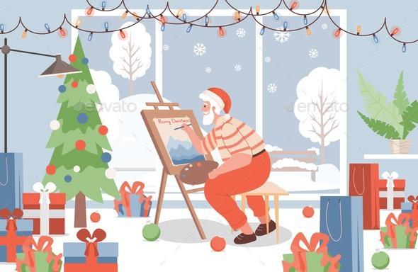 Santa Claus Paint Picture Vector Flat Illustration