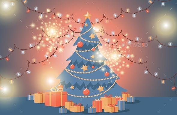 Christmas Tree Vector Flat Illustration