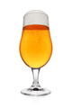Glass of light yellow beer isolated on white. Wide angle shot. - PhotoDune Item for Sale