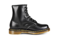 Black leather boot with yellow stitching isolated on white. - PhotoDune Item for Sale