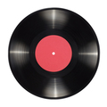10-inch vinyl record with blank red label isolated. - PhotoDune Item for Sale