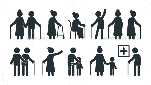 Elderly People Symbols. Old Persons Stylized