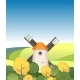 Illustration Countryside Windmill Among Trees - GraphicRiver Item for Sale