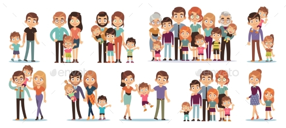 Cartoon Family Characters. Mother and Father, Son