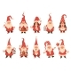 Christmas Dwarfs. Adorable Gnomes in Red White - GraphicRiver Item for Sale