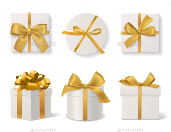 Realistic Decorative Gift Boxes. 3d Gifts White