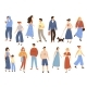 Walking People. Flat Men and Women with Children - GraphicRiver Item for Sale