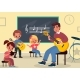 Music Class Learning. Young Students Listen - GraphicRiver Item for Sale