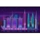 Neon Skyscrapers. Retro 80s Night Cityscape - GraphicRiver Item for Sale
