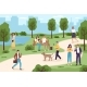 People with Gadgets in Park. Men and Women Spend - GraphicRiver Item for Sale