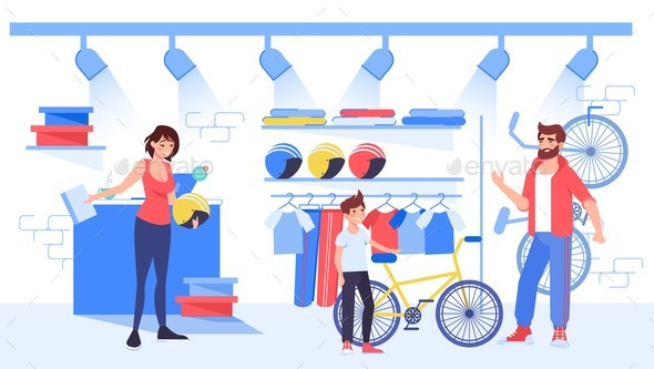 Parent Choose Buy Bicycle for Son at Bike Shop