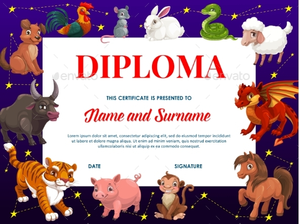 Kids Diploma with Chinese Zodiac Animals, Frame