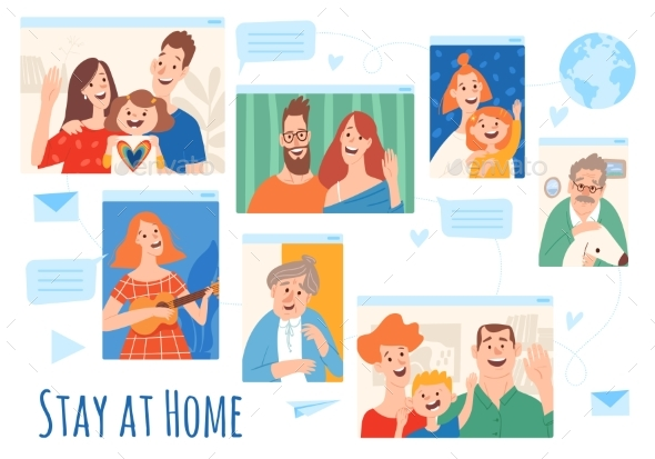 Home Isolation Stay at Home Vector Illustration