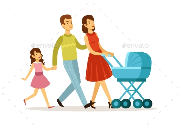 Family Walking. Mother Father Daughter, Baby