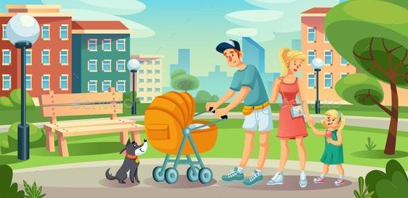 Happy Family Children on Walk in City Street Yard