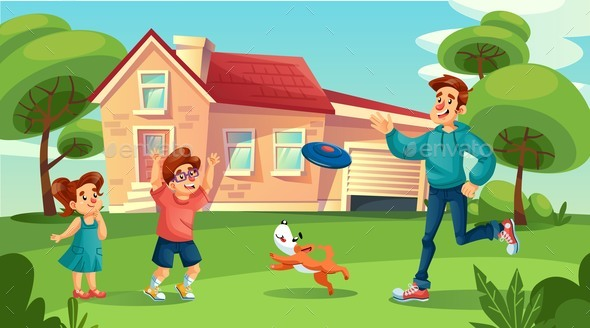 Happy Father Playing Cheerful Children in Yard