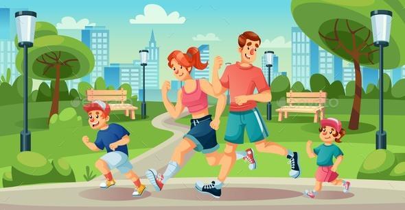 Happy Family Children Jogging in Summer City Park