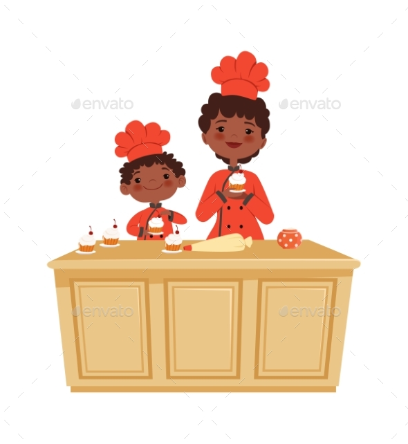Mother and Son Cooking. Cakes Time, Bakery
