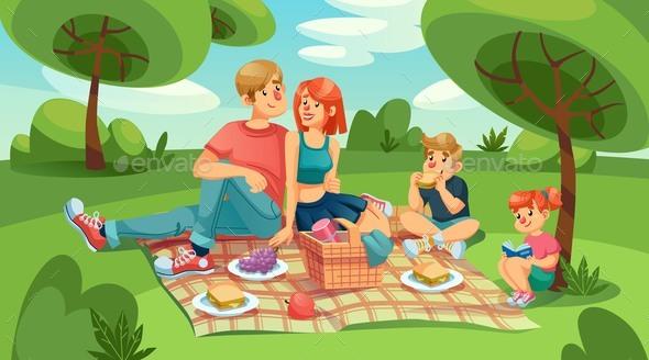 Happy Loving Family Kids on Picnic in Green Park