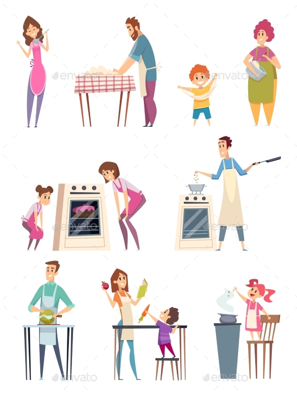 Family Cooking. Happy Characters Couple Parents