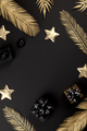 Christmas New Year festive Background. Traditional decor gold and black - PhotoDune Item for Sale