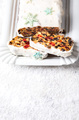 Christmas Fruit Cake, Pudding on snowy background . New Year pastries - PhotoDune Item for Sale