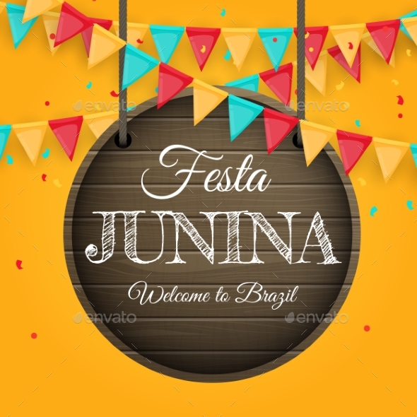 Fiesta Junina Background with Party Flags