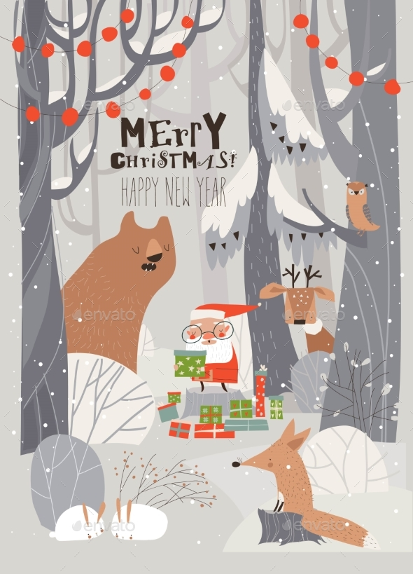 Cartoon Santa Claus with Animals in the Winter