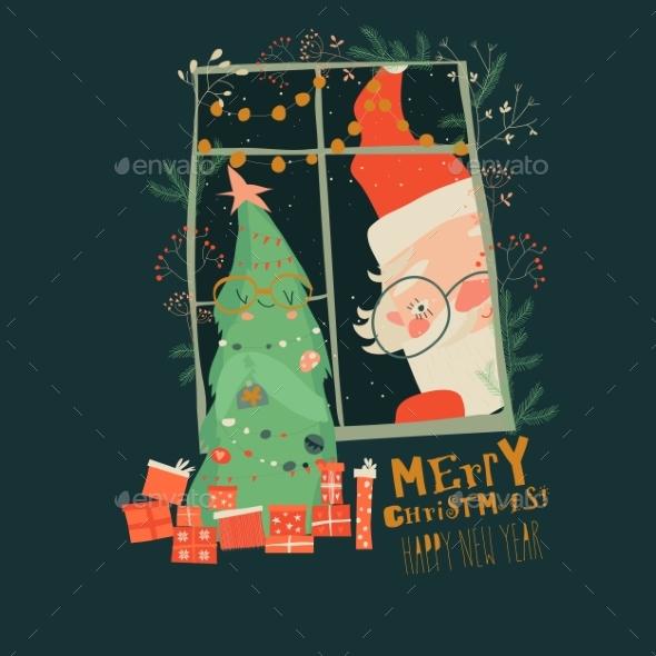 Cartoon Santa Claus Look Through the Window
