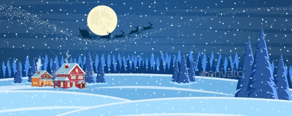 Christmas Landscape Background with Snow and Trees
