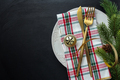 Golden cutlery on plate with ribbon - PhotoDune Item for Sale