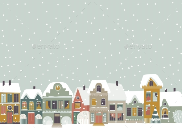 Cartoon Little Town in Christmas Time