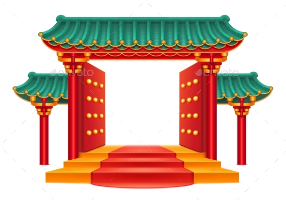Chinese Gate, Entrance with Roof, Stairs Isolated