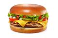 Cheeseburger isolated on white background. Sesame free bun. - PhotoDune Item for Sale