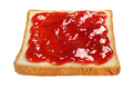 Slice of toasted bread with red jam isolated on white. - PhotoDune Item for Sale