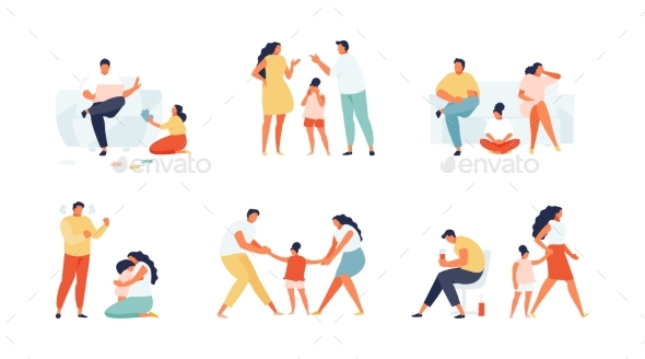 Problems with Family Difficulties Set Vector