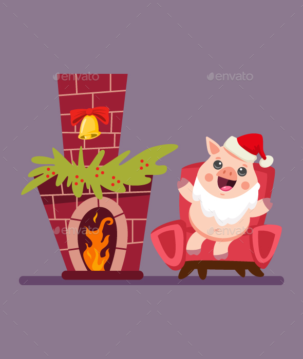 Cute Christmas Santa Claus Pig With Fireplace Vector Cartoon Character Illustration.
