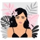 Fashionable Woman with Flower - GraphicRiver Item for Sale