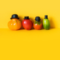 Funny characters of a large family of tomatoes dressed in black hats - PhotoDune Item for Sale