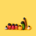 Funny characters of a large family of vegetables dressed in black hats. - PhotoDune Item for Sale
