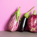 Still life with ripe violet aubergine on purple background. - PhotoDune Item for Sale