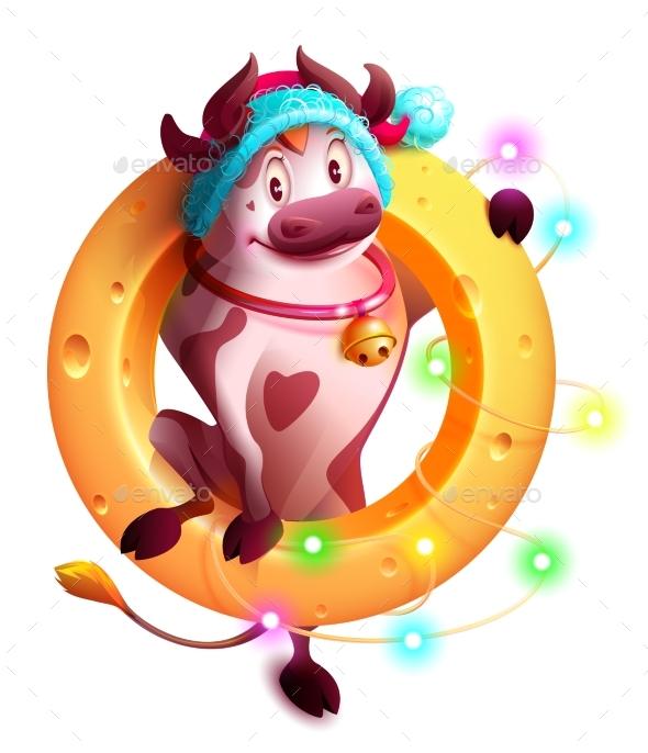Bull Symbol of 2021 in Santa Hat Holds