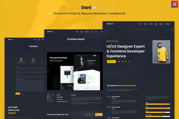 Download Danish – Personal Portfolio & Resume Elementor Template Kit Nulled
