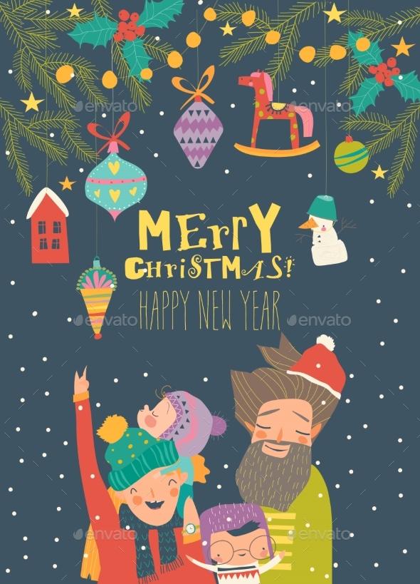 Cartoon Happy Family Celebrate Christmas